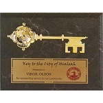 Commemorative Plaque with Mounted Gold Key
