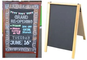 Wood A-Frame Chalkboard Sidewalk Sign
