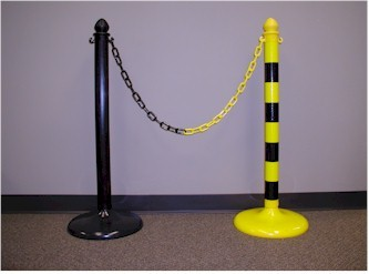 Black & Safety Plastic Stanchions
