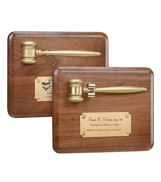 Gavel Plaque with Gold Finish