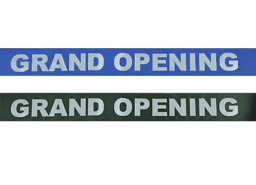 4 Inch Wide Grand Opening Ribbon (Large Silver Capital Letters)