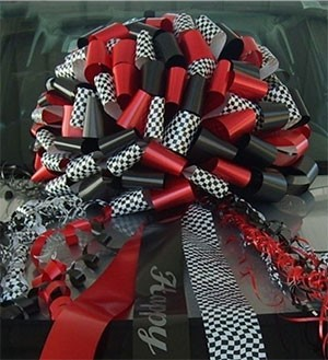 Race Checkered Giant Car Bows