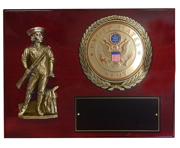 Minuteman and US Army Medallion Cherry Piano Wood Award Plaque