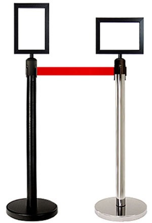 "Retractable Belt Stanchion Sign Frame - 8"" x 11"""