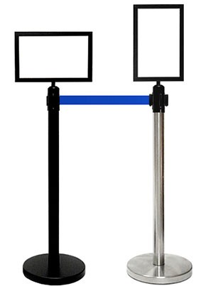"Retractable Belt Stanchion Sign Frame - 11"" x 17"""