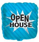 Open House Mylar Balloon Blue Square