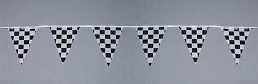 Black and White Checkered Race Jumbo Pennant